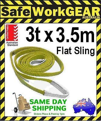 3 Tonne 3.5 Metre Flat Web Lifting Sling with Tag Webbing Yellow Aus Standards