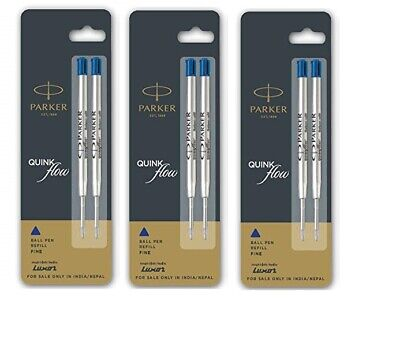 5 X Parker Quink Flow Ball Pen Point Refills Refill - Medium Blue Ink New