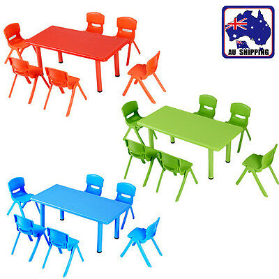Large Kids Toddler Children Activity Table Desk With 6 Chairs 3 Colors HQTC315