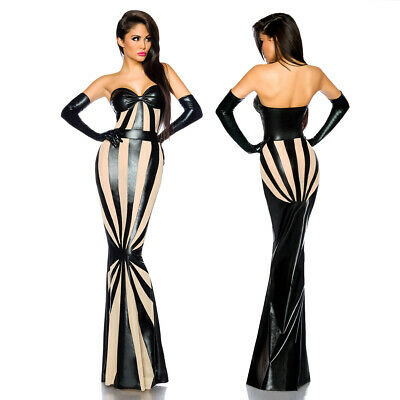 Sexy Wetlook Maxi Dress Abendkleid Netz Maxikleid Clubwear Kleid Robe Bandeau