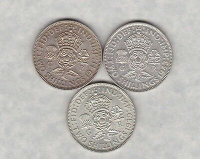 1941 & 1943 George Vi 50% Silver Florins In Extremely Fine Condition