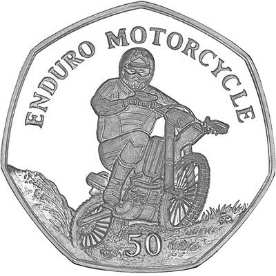 Isle of Man Enduro Motorcycle 2012 Uncirculated Cupro Nickel 50p Coin