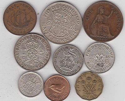 1946 George Vi Set Of 9 Coins In Good Fine Or Better Condition