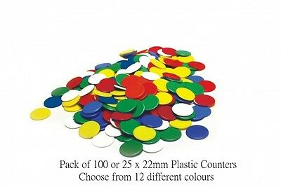 22mm Opaque Plastic Board Game Counters Tiddly winks Numeracy Teaching 12 colour