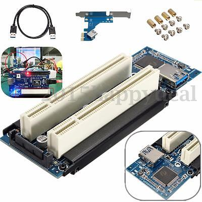 PCI-E Express x1 to Dual PCI Riser Exten Extender Adapter Card + USB 3.0 Cable