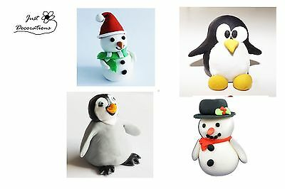Sugar snowman pinguin edible Christmas cake cupcake wedding birthday toppers