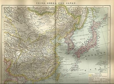 1892 CHINA KOREA JAPAN Historische Landkarte Karte Antique Map Lithographie
