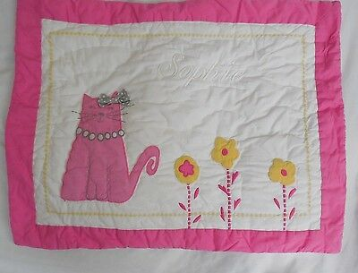 "Pottery Barn Kids Quilted Kitty Collection Pillow Sham Monogrammed ""Sophie"" NWOT"