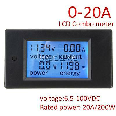 20A DC Digital LCD Power Panel Meter Monitor Power Energy Voltmeter Ammeter MO