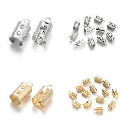 50pcs Brass Cord Ends Crimp Bead Tips Fold Over Jewelry Findings Craft  11x5mm