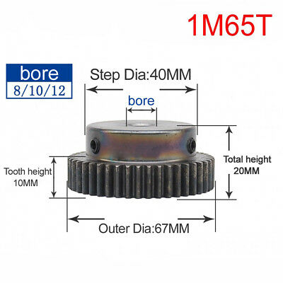 45# Steel Spur Motor Pinion Gear 1Mod 65T Outer Diameter 67mm Bore 10mm Qty 1