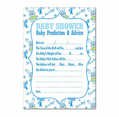 Baby Shower Prediction / Advice Game, Pack of 16, Multi Coloured, Boys (Blue)