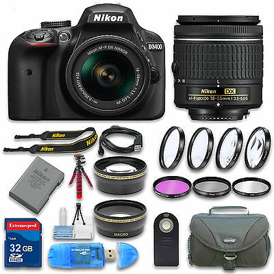 Nikon D3400 DSLR Camera (Black) with AF-P 18-55mm VR Lens and Accessories Bundle