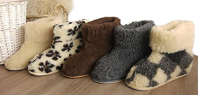 New Women's Men's 100% Sheep  Wool Boot-Style Snug Sheepskin Slippers hard sole