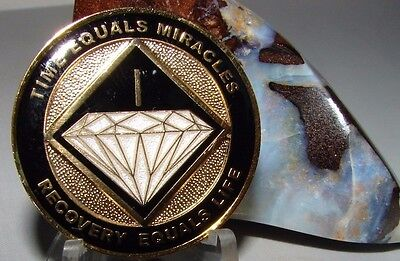 Narcotics Anonymous AA NA BLACK 1 Year Recovery Medallion Coin Token Chip Sober