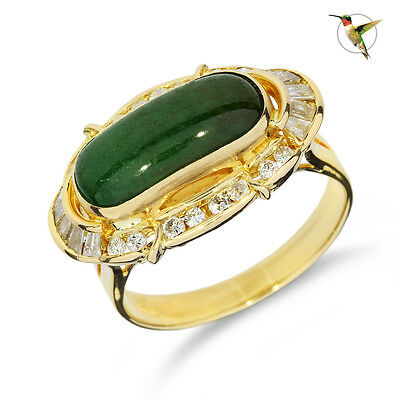 Vintage Jadeite and Diamond Ring Set in 18k Solid Yellow Gold #2611
