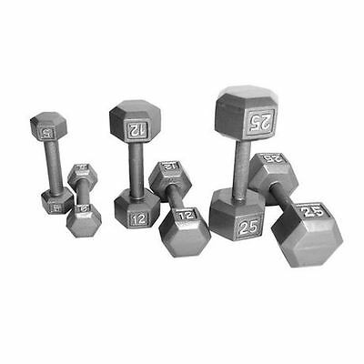 Pair Cast Iron Dumbbells Set Steel Hex Metal Free Hand Weights Gym Pounds LBs