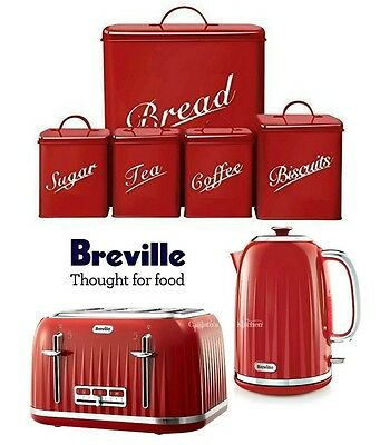 Breville Impressions Kettle and Toaster Set + Red 5 Piece Canister Set New
