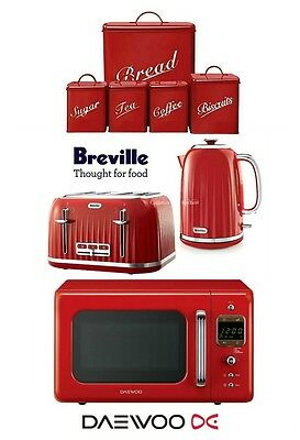 Breville Impressions Kettle and Toaster with Daewoo Microwave & Red Canister Set