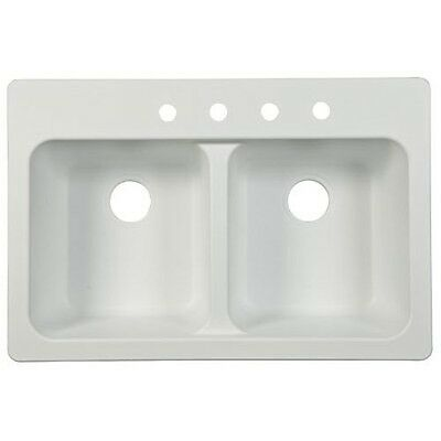 Kindred FTW904BX Double Bowl Sink 9-Inch Deep, White