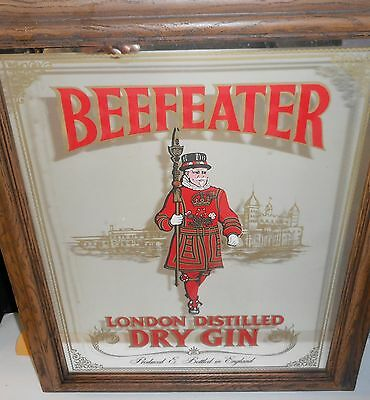 "Vintage Beefeater Dry Gin Advertising Clear Mirror Pub Bar 24"" Tall Breweriana"