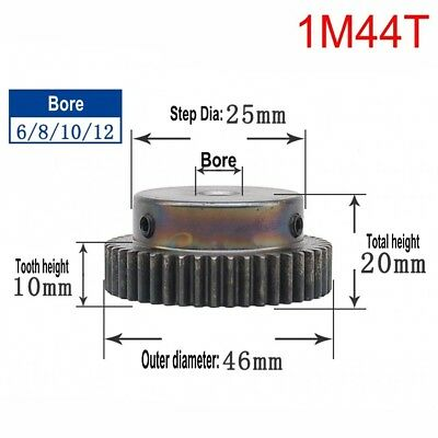 45# Steel Spur Pinion Gear 1Mod 44T Outer Diameter 46mm Bore 6/8/10/12mm Qty 1
