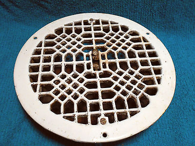 Antique Architecture Round White Porcelain Cast Iron Floor Grate Heat Register