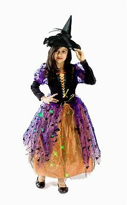 Witch Costume Girls light up kids glowing fiber optic Size S M 4 5 6 7 8 black