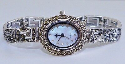VINTAGE STYLE! Champagne Marcasite & MOP Bracelet Watch Solid S/Silver 925!