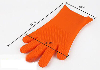 Silicone BBQ Gloves JUMBO Kitchen Oven Mitts, Non Stick Pot Heat Proof Resistant