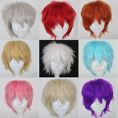 Men Women Heat Resistant Layered Short Straight Basic Anime Cosplay Party Wig VX