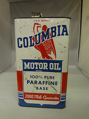 Vintage Columbia Five Quart Oil Can   648-M