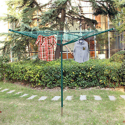 4 Arm 50M Rotary Outdoor Washing Line Ground Socket Airer Clothes Dryer + Cover