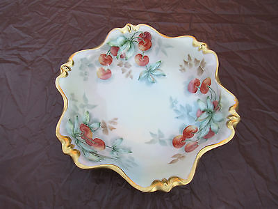 Large Rosenthal Porcelain Hand Painted Cherries Gold Trimmed Serving Bowl