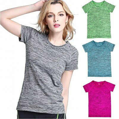 Women Quick Dry Breathable Sports Shirt Gym Yoga Fitness Top Running T-Shirt LOT