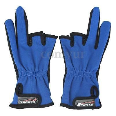 2x Anti Slip 3 Half Cut Fingers Sports Tackle Outdoor Hunting Fishing Gloves