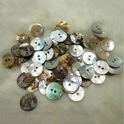 100PCS Natural Mother of Pearl Round Shell 2 Holes Sewing Buttons 10mm FOUK