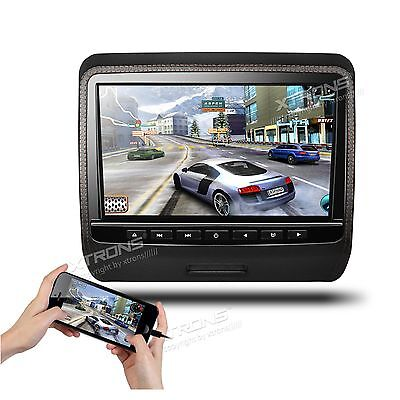 """1x HDMI 9"""" HD Screen Brown Car Video LCD Monitor Active Headrest DVD Player Game"""