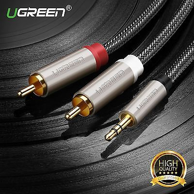 Ugreen HIFI 3.5mm Male to 2 RCA Male Audio Aux Cable For Ipod LCD HDTV Speaker