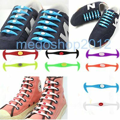 12Pcs Elastic Silicone Easy No Tie Shoelaces Shoe Lace Set for Kids Adults MG