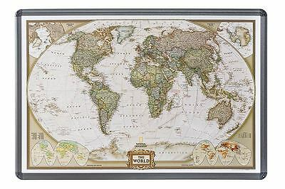 World Map on Cork Pin Board English Aluminium Frame 90x60cm #199086alu