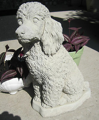 """Concrete Poodle Statue Or Use As A Memorial , Grave Marker,,,  13.5"""" Tall"""