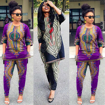 2PC Set Women Dashiki African Print Casual Straight Print Tops+Pants Outfits