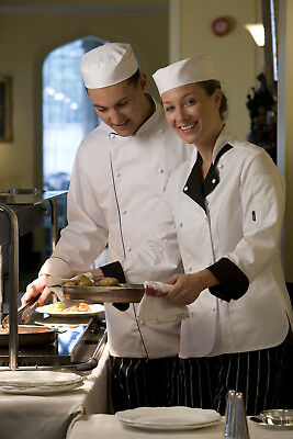 Le Chef UNISEX White Chef Jacket with Coloured Piping in Long Sleeve (DE4914)