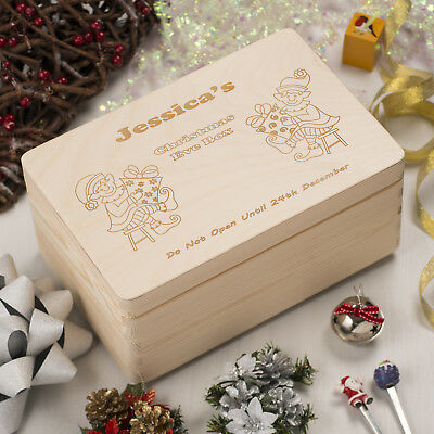 Personalised Christmas Eve Wooden Box | Engraved with Traditional Elf Design