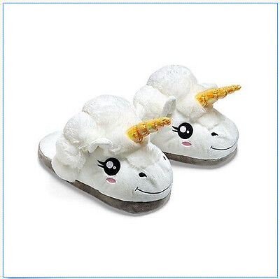 Plush Unicorn Slippers for Grown Ups Winter Warm Indoor Slippers