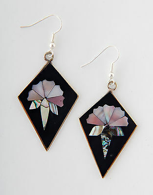 Tumi Mexican art deco style earrings black & shell flower dangly fairtrade