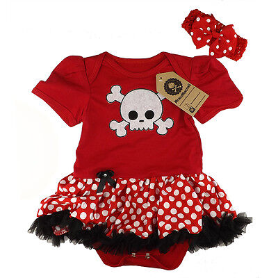 Red skull skirted baby romper alternative rock metal baby onesie polka dot