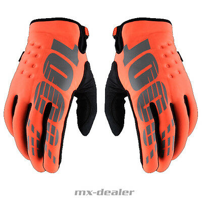 100% Prozent Brisker Neopren Winter Handschuhe MTB MX Motocross Enduro Orange