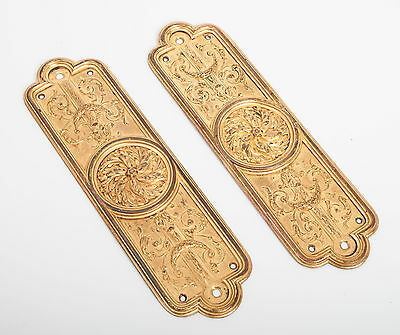 A Pair of Original Antique Edwardian Gilt Metal Door Finger/Pusher Plates